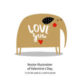 Vector illustration of Valentine`s Day.It can be used as a card or poster Royalty Free Stock Photo