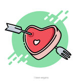 Vector illustration for Valentine's Day greeting card with a pie Royalty Free Stock Images