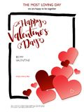 Vector illustration of valentine`s day greetings card with hand lettering label - happy valentine`s day - with frame and. A lot of heart shapes Royalty Free Stock Photography