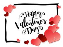 Vector illustration of valentine`s day greetings card with hand lettering label - happy valentine`s day - with frame and. A lot of heart shapes Royalty Free Stock Photos