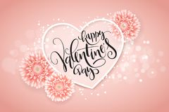 Vector illustration of valentine's day greetings card with hand lettering label - happy valentine's day - with a lot of heart sh Royalty Free Stock Image