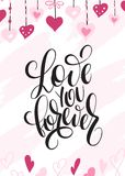 Vector illustration of valentine`s day greetings card with hand lettering label - love you forever - with doodle hearts Stock Photo