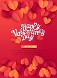 Vector illustration for Valentine`s Day. Hearts carved from  Stock Images
