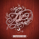 Vector illustration on a Valentine`s Day theme with I Love You typographic design on wood texture background. Eps 10 Stock Photos