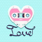 Valentines Day Background With Vintage Audio Cassette As Heart With Love Text Royalty Free Stock Photos