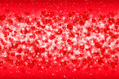 Vector Illustration of a Valentines Day Card. Falling hearts, sparkle star, snow on a pink background. Abstract white glitter conf Royalty Free Stock Images