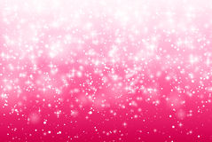 Vector Illustration of a Valentines Day Card. Falling snow, sparkle star, snow on a pink background. Abstract white glitter confet Royalty Free Stock Photo