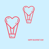 Vector illustration of valentines day concept in flat bold line style. Royalty Free Stock Photography