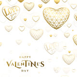Vector illustration of valentines day golden greeting card Stock Photography