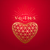 Vector illustration of valentines day golden greeting card Stock Image