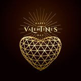 Vector illustration of valentines day golden greeting card Royalty Free Stock Images