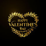Vector illustration of valentines day golden greeting card Royalty Free Stock Photo