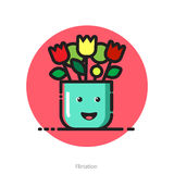 Vector illustration for Valentines day postcard of smiling flowe Royalty Free Stock Photo