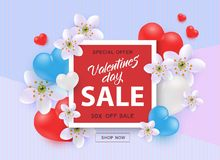 Vector illustration of Valentines Day Sale template with sign on red shape surrounded by hearts and flowers. Vector illustration of Valentines Day Sale template royalty free illustration