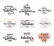 Vector illustration of valentines day typography lettering logo set. Vector illustration of happy valentines day typography lettering logo set. Hipster emblems royalty free illustration
