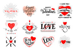 Vector illustration of valentines day typography lettering logo set. Hipster emblems, quote text design with hearts, arrow, burst. Use for banners, greeting royalty free illustration