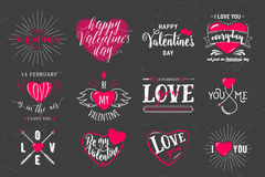 Vector illustration of valentines day typography lettering logo set. Hipster emblems, quote text design with hearts, arrow, burst. Use for banners, greeting stock illustration
