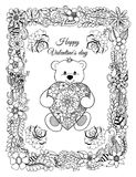 Vector illustration, valentines, a teddy bear with a heart in a frame from flowers. The work Made in manually.Book Coloring anti-s stock illustration
