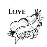 Vector Illustration Valentinsgruß ` s der Grußkarte in der Tätowierungstintenart mit Typografie Lizenzfreies Stockfoto