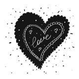 Vector Illustration Valentinsgruß ` s der Grußkarte in der Tätowierungstintenart mit Typografie Lizenzfreie Stockbilder