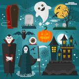 Vector illustration of vampire, castle, death, ghost and other horror different decorations and characters dedicated to Stock Image