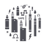 Vector illustration of vape icons Stock Images