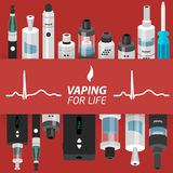 Vector illustration of vaping atomizer electronic cigarette Royalty Free Stock Photos