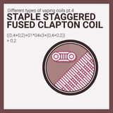 Vector illustration vaping coil. Part of big set. Staple staggered fused clapton. Stock Photo