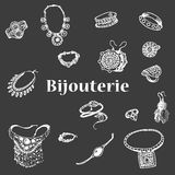 Vector illustration of a variety of decorations. Doodle bijouterie. Jewelry hand-drawn. Hand drawing female jewelery Stock Photos