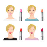Vector illustration of various color lipsticks Royalty Free Stock Photos