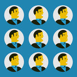 Vector illustration of various facial expressions. Flat design character set of boss or manager in various feeling and emotional expression concept. Negative Royalty Free Stock Photo