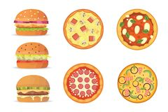 Vector illustration of various fast food. Cartoon pizza and burger isolated illustration.  Royalty Free Stock Images