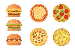 Vector illustration of various fast food. Cartoon pizza and burger isolated illustration.  Royalty Free Stock Image