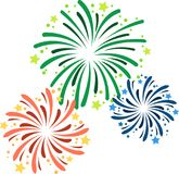 Vector illustration of various fireworks on New Year`s Eve. Green, red and blue fireworks with stars Royalty Free Stock Photography