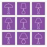 Table lamp vector icon set on purple backgrounds. Vector illustration of various forms of table lamp Royalty Free Stock Images