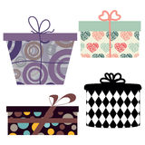 Vector illustration of various holiday gift boxes. On the white background Stock Images