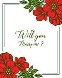 Vector illustration various ornate of red flower frame for banner will you marry me vector illustration