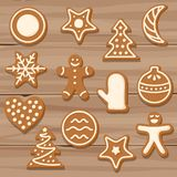 Set of Christmas cookies on wooden background Stock Photos