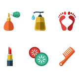 Vector illustration of various spa icons Stock Photography
