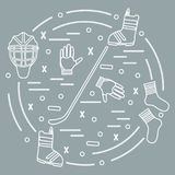 Vector illustration of various subjects for hockey and snowboard. Ing arranged in a circle. Including icons of helmet, gloves, stick, puck, socks, snowboard Stock Image
