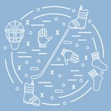 Vector illustration of various subjects for hockey and snowboard. Ing arranged in a circle. Including icons of helmet, gloves, stick, puck, socks, snowboard Royalty Free Stock Photography