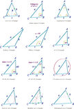 3D triangle types. Vector illustration of various triangle types commonly used in schools and mathematics Stock Image