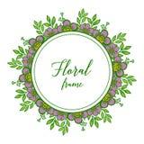 Vector illustration various variation leaf purple floral frame vector illustration
