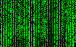 Vector illustration. Vector streaming binary code background. Data and technology, decryption and encryption, computer background Royalty Free Stock Image