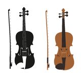 Vector illustration - vector violin with fiddle stick. Violin with bow silhouette on transparent background Stock Photography