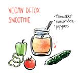 Hand drawn recipe card with smoothie. Vector illustration of vegan detox smoothie. Hand drawn recipe of healthy drink made of tomato, cucumber and pepper. Black Royalty Free Stock Image