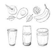 Vector illustration of vegan detox smoothie. Stock Photo
