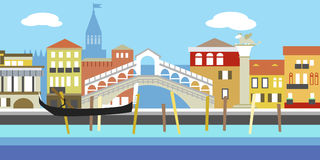 Vector illustration of Venice cityscape in simple style. Traditional Italian landscape. Houses in the old European style. River ch Stock Photos