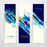 Vector illustration of vertical geometry round, diagonal and line banner set Stock Photos