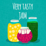 Vector illustration Very tasty jam. Banks with homemade jams and preserves. Strawberry dessert. Strawberry jam. Royalty Free Stock Photography